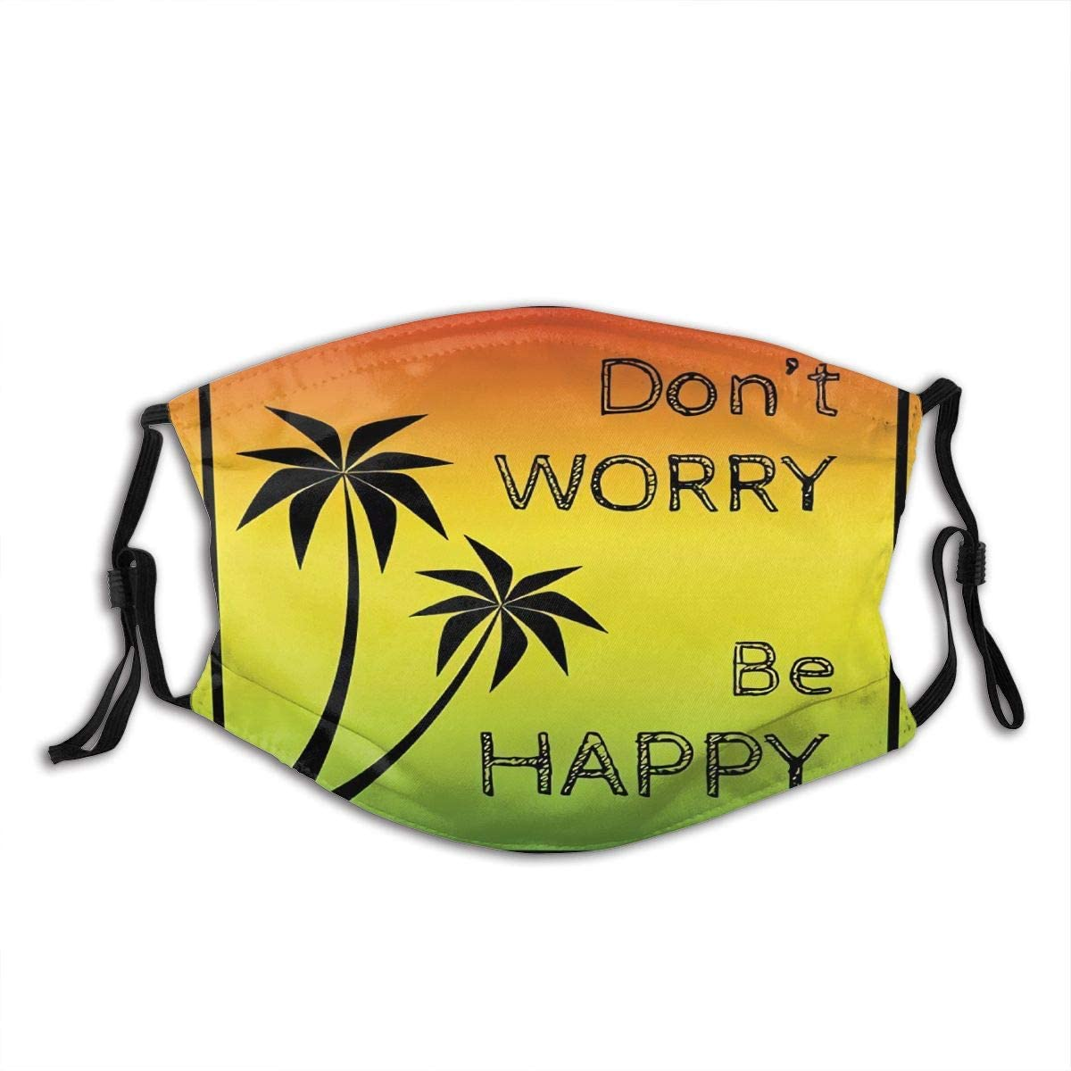 Dont Worry Be Happy Music Quote Of Iconic Singer Palms Ombre Colors Face Mask Bandana Headwear