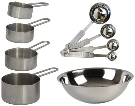 TigerChef 9-Piece Deluxe Stainless Steel Measuring Cups and Measuring Spoon Set and Bonus Mixing Bowl