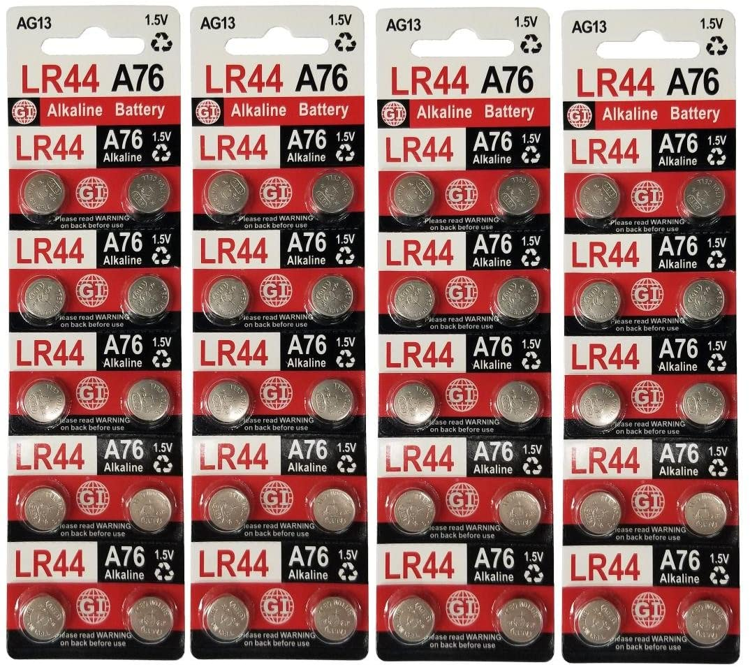GI LR44 A76 AG13 1.5 Volt Alkaline Button Cell Batteries for Watches Clocks Remotes Games Controllers Toys & Electronic Devices (40)