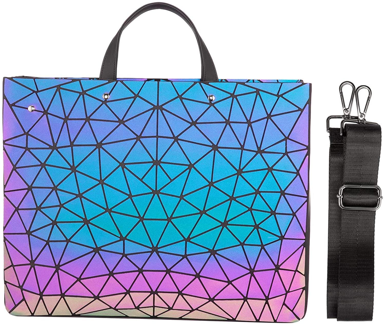 Geometric Luminous Women Laptop Shoulder Messenger Handbag 15.6 Inch Holographic Reflective Carrying Bags