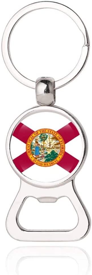 Florida USA Flag Beer Bottle Opener Metal Glass Crystal Keychain Travel Souvenir Gift Keyring Accessories