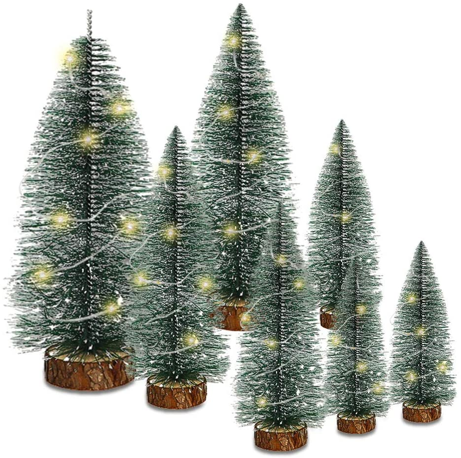 SGQCAR Mini Artificial Christmas Trees Sat with Led Light,Plastic Sisal Trees Bottle Brush Trees Snow Frost Ornaments with Wood Base for Winter Party Home Room Christmas Decoration