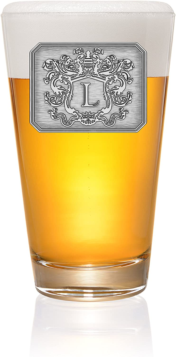 Pint Pub Beer Glass Hand Crafted Monogram Initial Pewter Engraved Crest with Letter L - by Fine Occasion (L, 16oz)