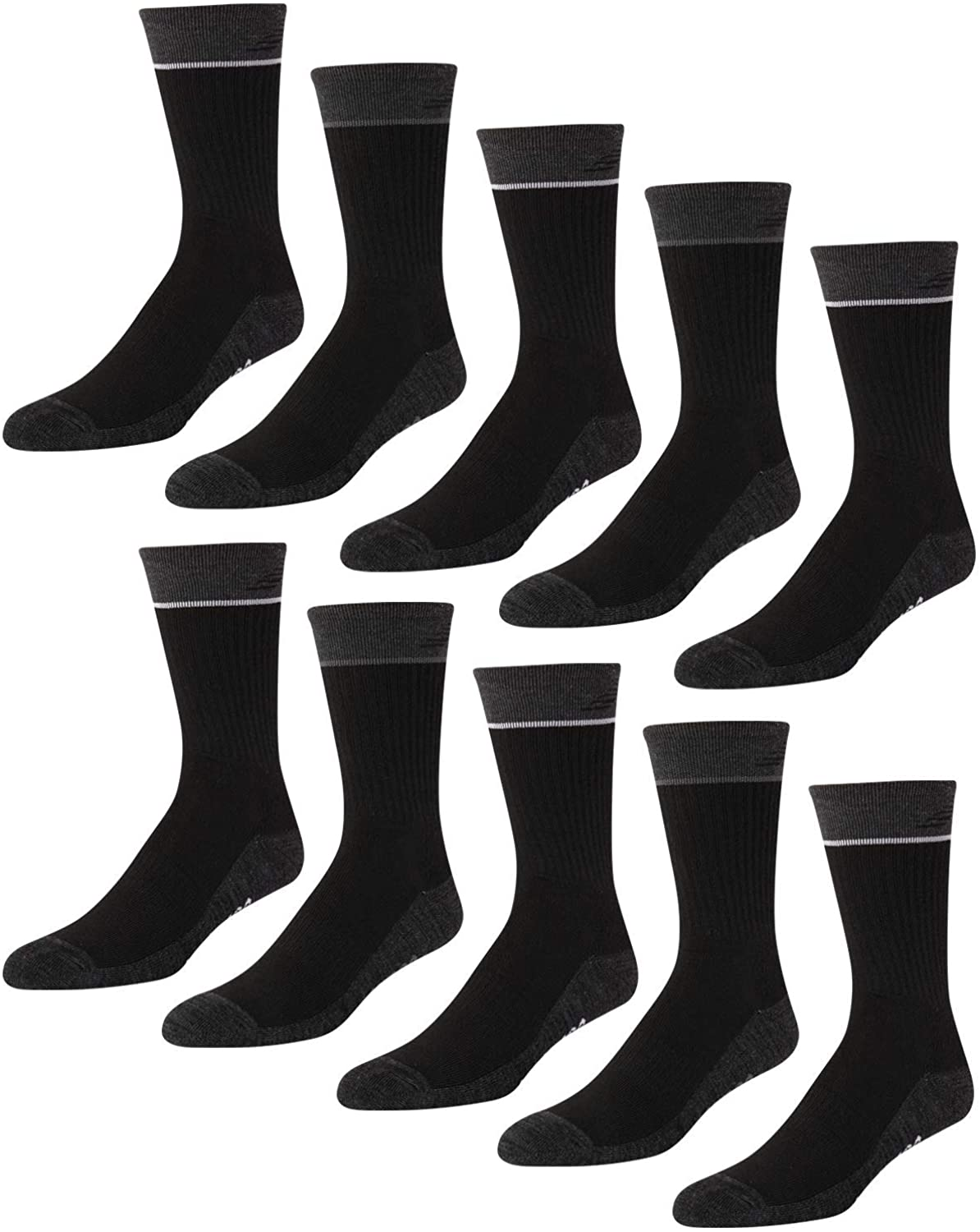 New Balance Men's Athletic Arch Compression Cushion Comfort Crew Socks (10 Pack)