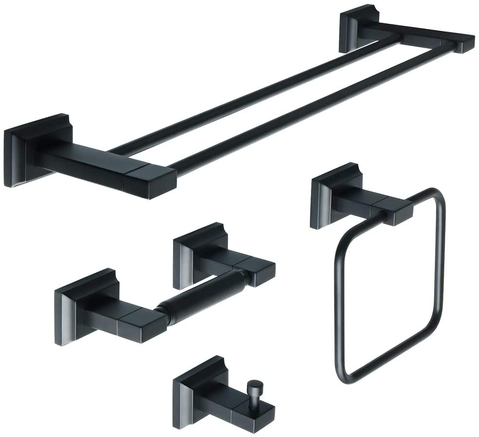 Alise Bathroom 4-Piece Accessory Set,Double Towel Bar Towel Hook Towel Ring and Toilet Paper Holder Wall Mount,GOY3604B-SET SUS 304 Stainless Steel Matte Black