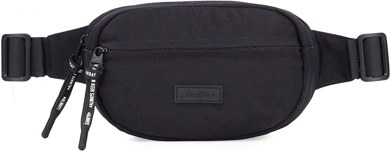 552s Small Plain Fanny Pack Waist Hip Bag, Black
