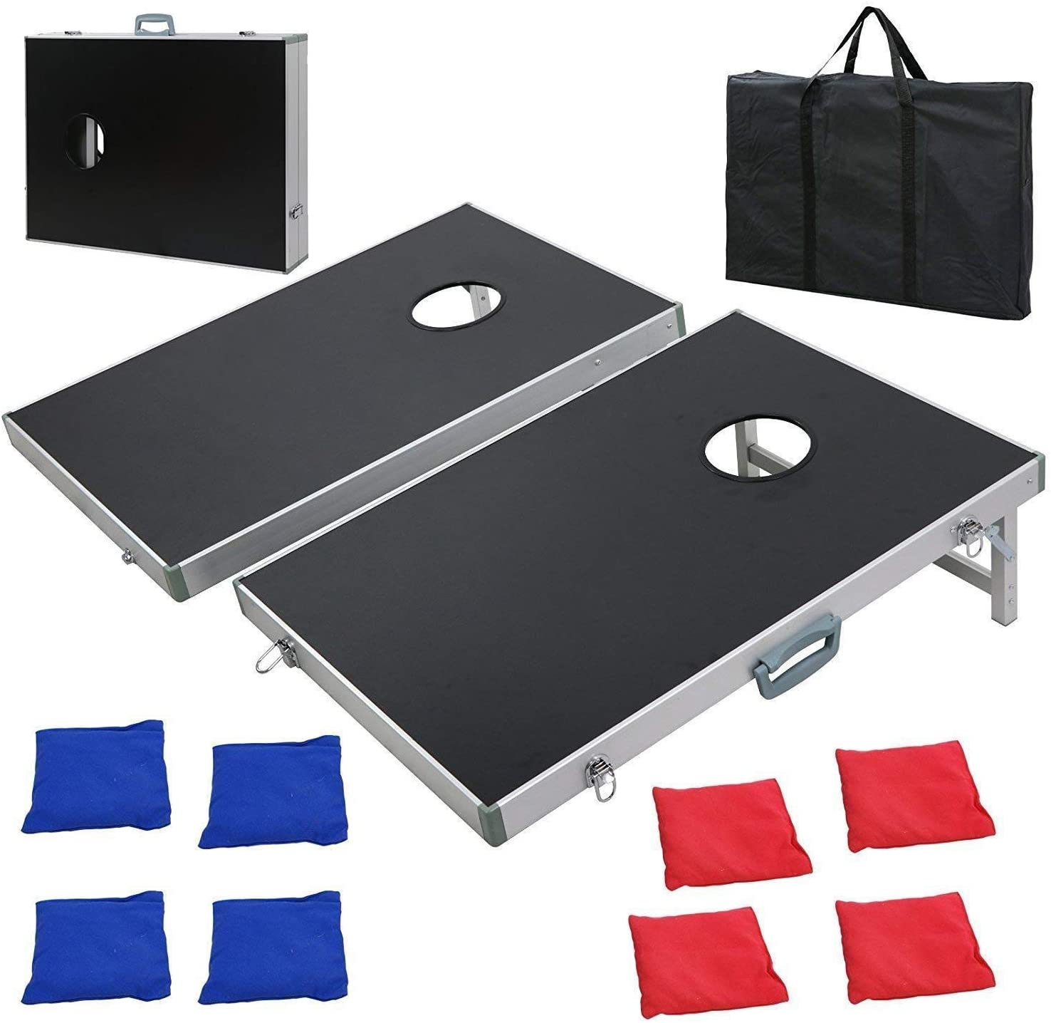 nitipezzo Durable Aluminum Construction and Waterproof Cornhole Bean Bag Toss Game Set Aluminum Frame Portable Design with Carrying Case