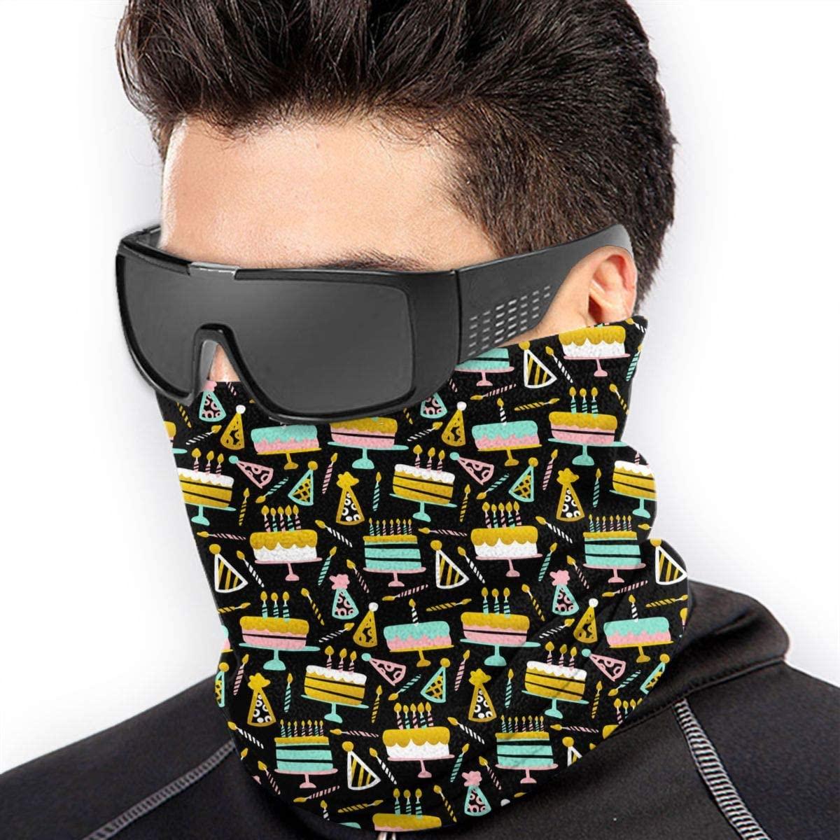 Birthday Seamless Pattern Cloth Face Mask Bandana Neck Gaiter, Sun Uv Dust Protection Reusable Tube Scarf Motorcycle Balaclava For Men Women