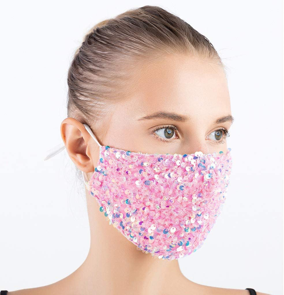 Halloween Masquerade Mask for Women Bling Sequins Fashion Party Face Cloth for Girls