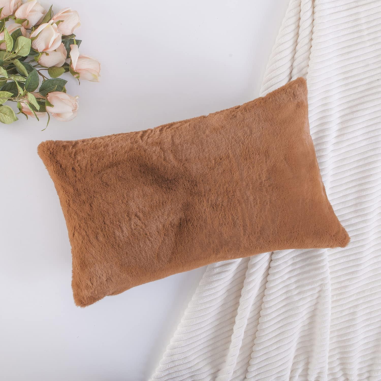 Home Brilliant Plush Fluffy Sheepskin Fur Suede Oblong Accent Throw Pillowcase for Sofa Cushion Cover, 12 x 20 inch, 30x50cm, Brown