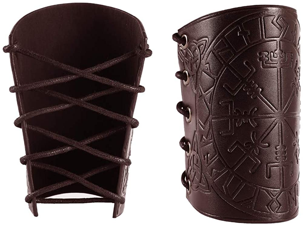 2 Pieces Gauntlet Wristband - Vegvisir Viking Leather Armor Bracers