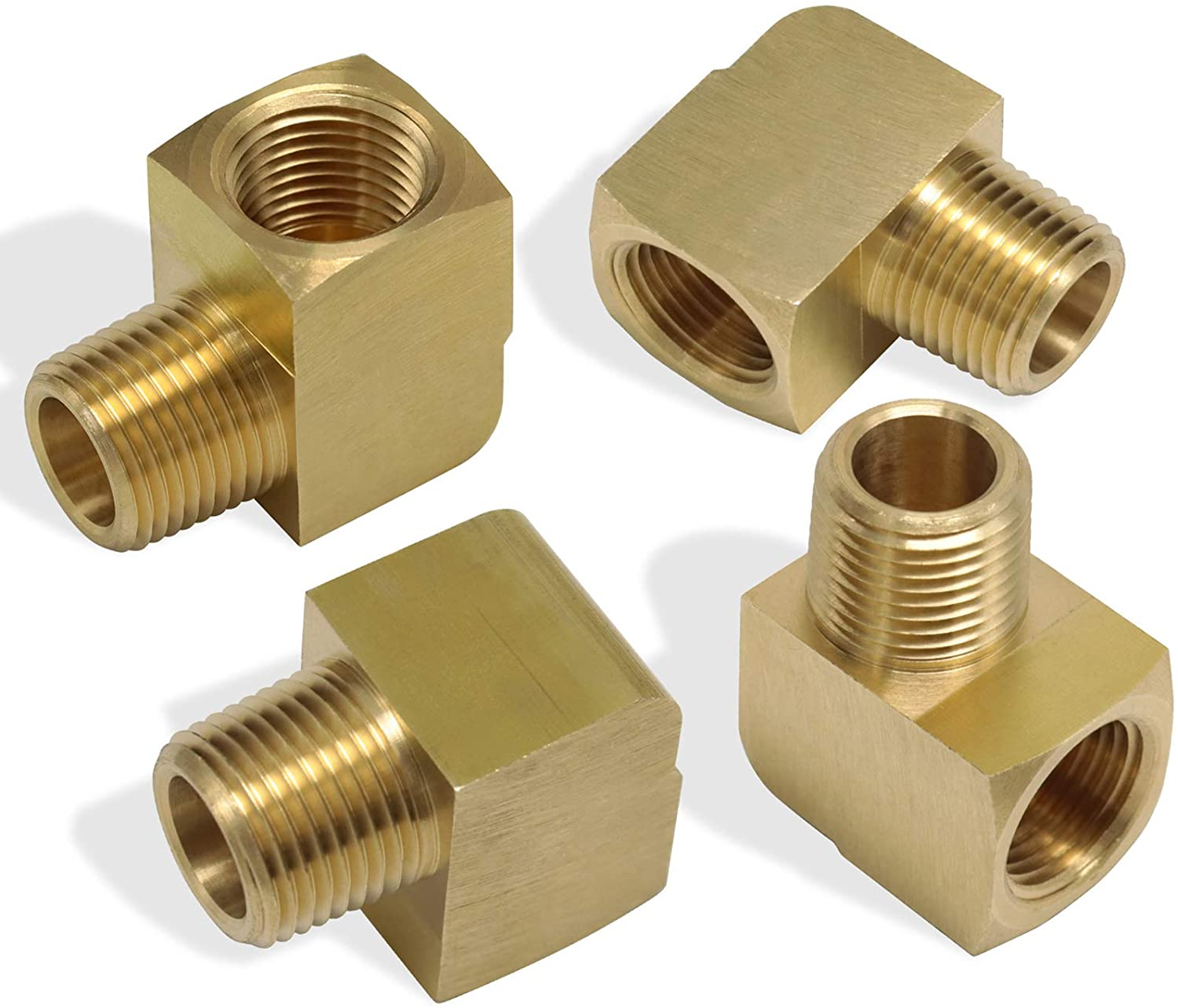 KOOTANS 4pcs 1/8 NPT Elbow Brass Fittings, 1/8 NPT Male to 1/8 NPT Female Thread Brass 90 Degree Street Elbow Forged Brass Pipe Fitting