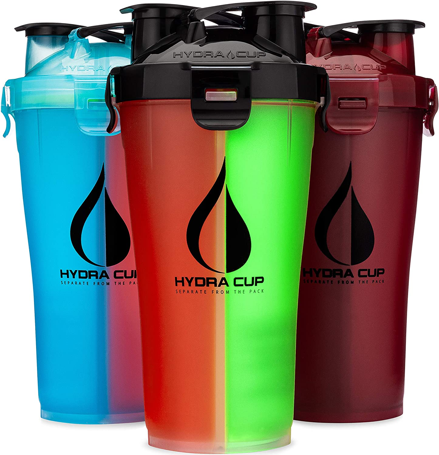 Hydra Cup 3 Pack 30oz Dual Shaker Bottle, Protein Shaker Cups for Pre & Post, Save Time