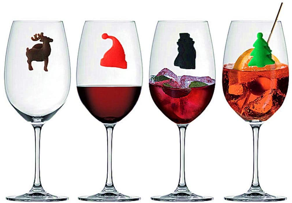 HEMOTON 24 pcs Wine Glass Marker Sea Animals and Christmas Reusable Silicone Drink Charms Wine Identifier for Champagne