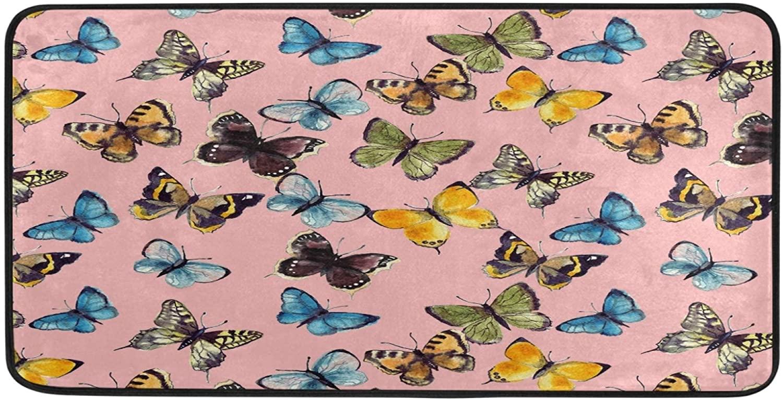 Ombra Kitchen Floor Mat Watercolor Butterfly Non Slip Absorbent Runner Rugs Doormat for Entryway Entrance Bathroom Garage Home Decor Indoor Outdoor 39