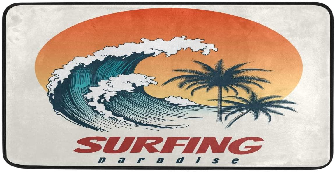 Surfer Big Wave Retro Kitchen Rug Doormats Carpet Bath Mats Runner Rug for Home Decor,Non-Slip Standing Kitchen Rug 39