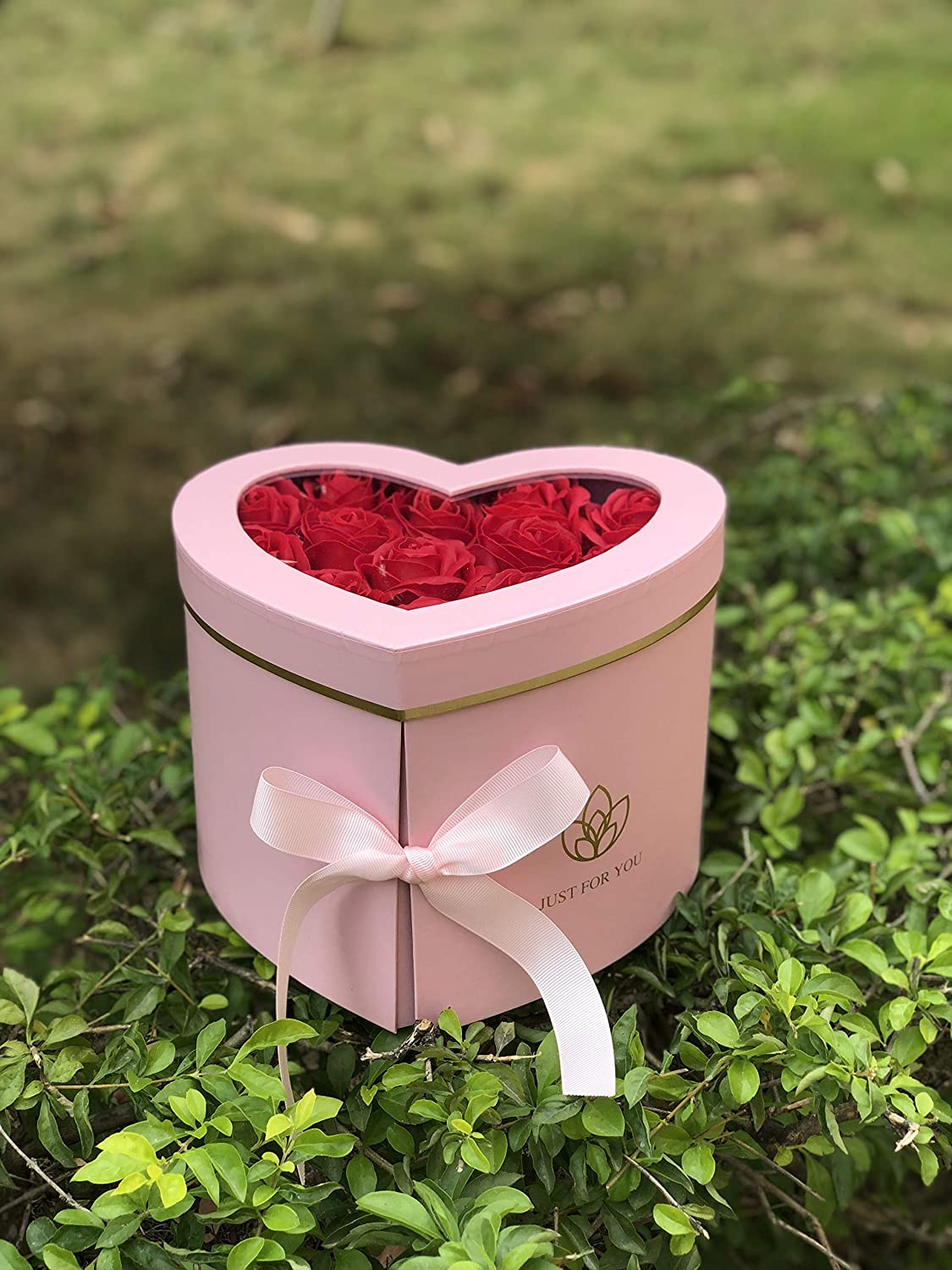 [USA-SALES] Premium Quality Heart Shaped Flower Box, Gift Boxes for Luxury Flower and Gift Arrangements, with Lids, Size 9x8x6.5, for Luxury Style Flower Arrangements, Ships From USA (Pink)