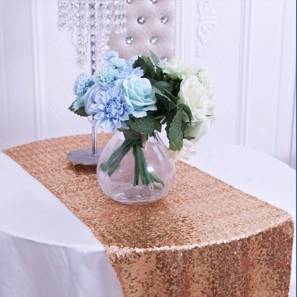 Leaflai Table Runner,Rose Gold 12''X108''Sequin Table Runner Decorations for Sparkle Party Wedding Birthday Christmas