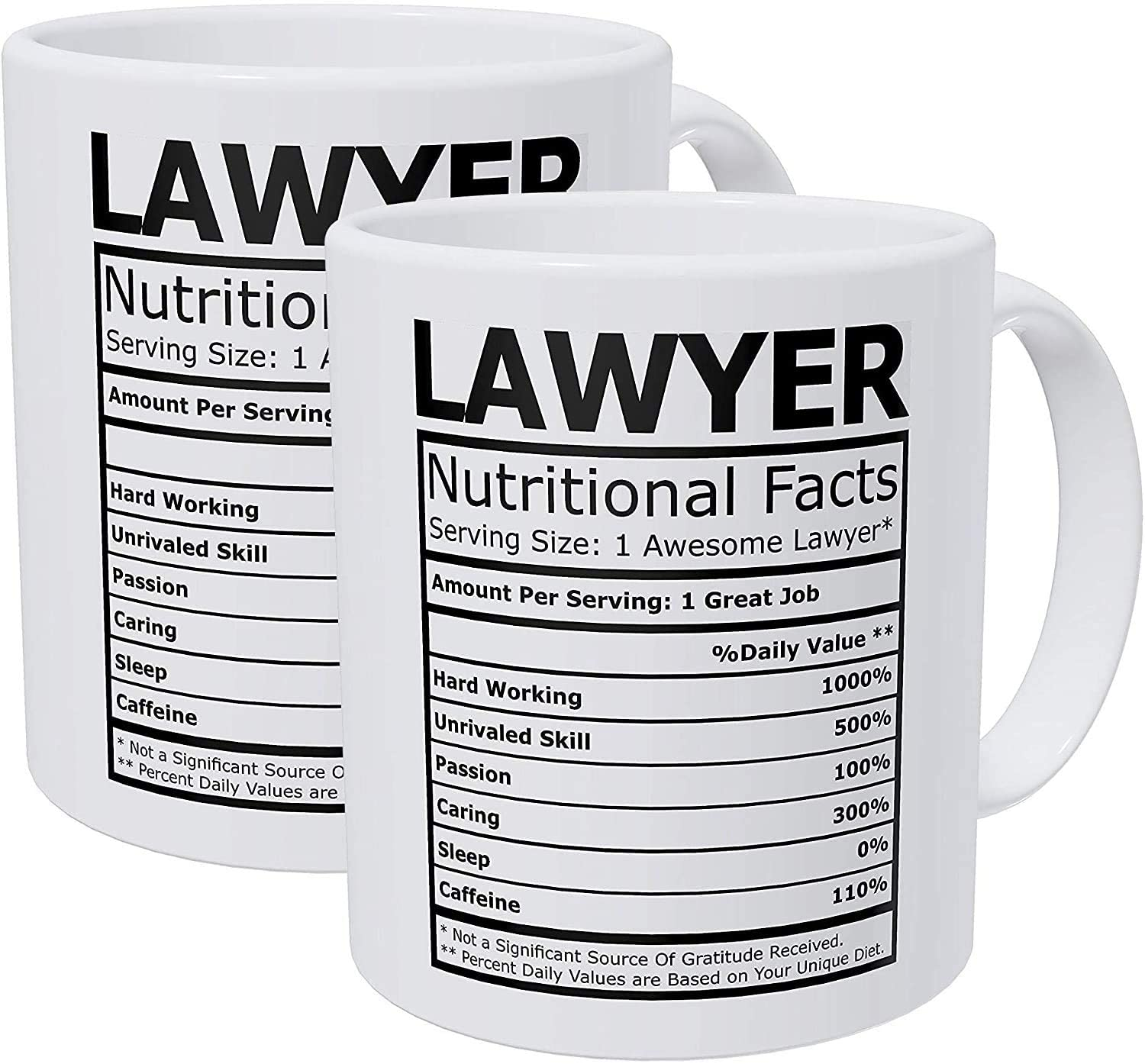 antfeagor Pack of 2 Lawyer Attorney Nutritional Facts 11 Ounces Funny White Coffee Mug