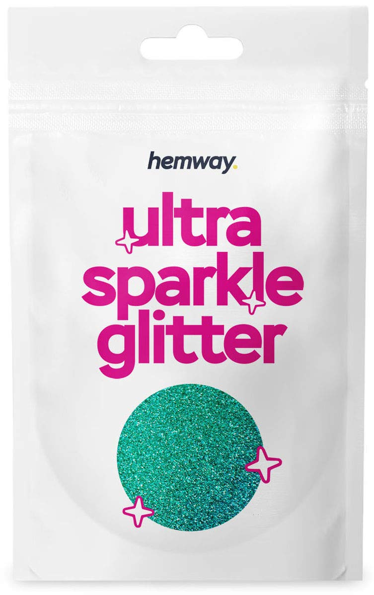 Hemway Ultra Sparkle Glitter 10g/0.35oz Cosmetic Safe, Fine Slime, Crafts, Weddings, Decorations, Art, Beauty, Decoration Scrapbooking -(Turquoise Blue Holographic)