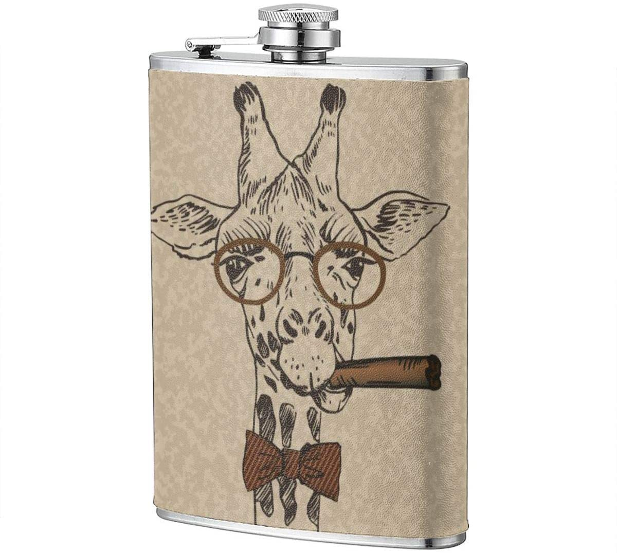 Cool Guy Retro Giraffe Portable 8 Oz Stainless Steel Leak-Proof Hip Flask For Whiskey With Leather Wrap Travel Camping Wine Pot Flagon For Men Women
