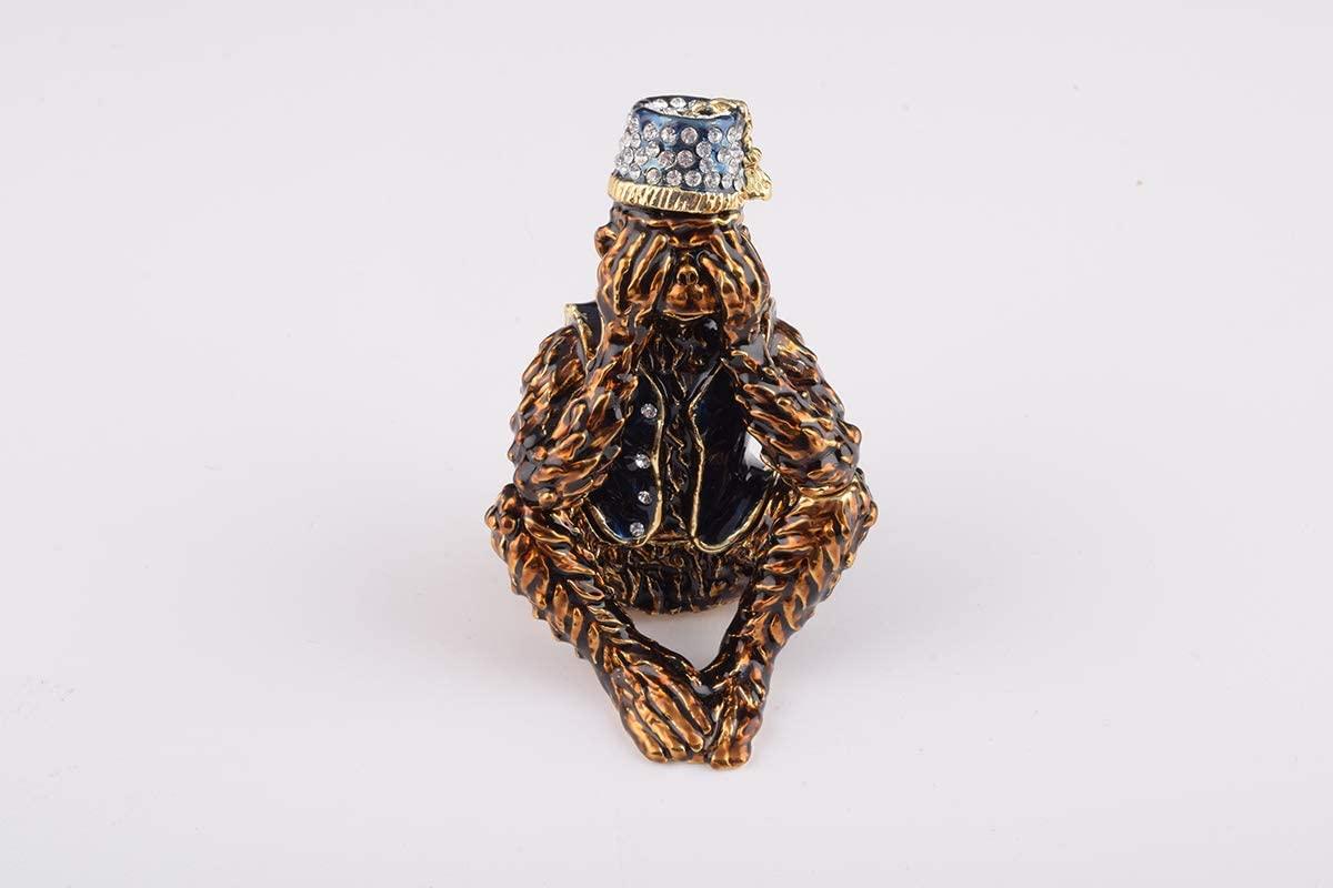 Keren Kopal Brown Monkey Trinket Box Decorated with Swarovski Crystals Unique Handmade Gift MK1926
