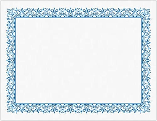 8 1/2 x 11 Certificates - White w/Blue Border (25 Qty.)   Perfect for Award Recognition, Student Awards, Graduations, Appreciation and More!   CERT-70WBLU-25
