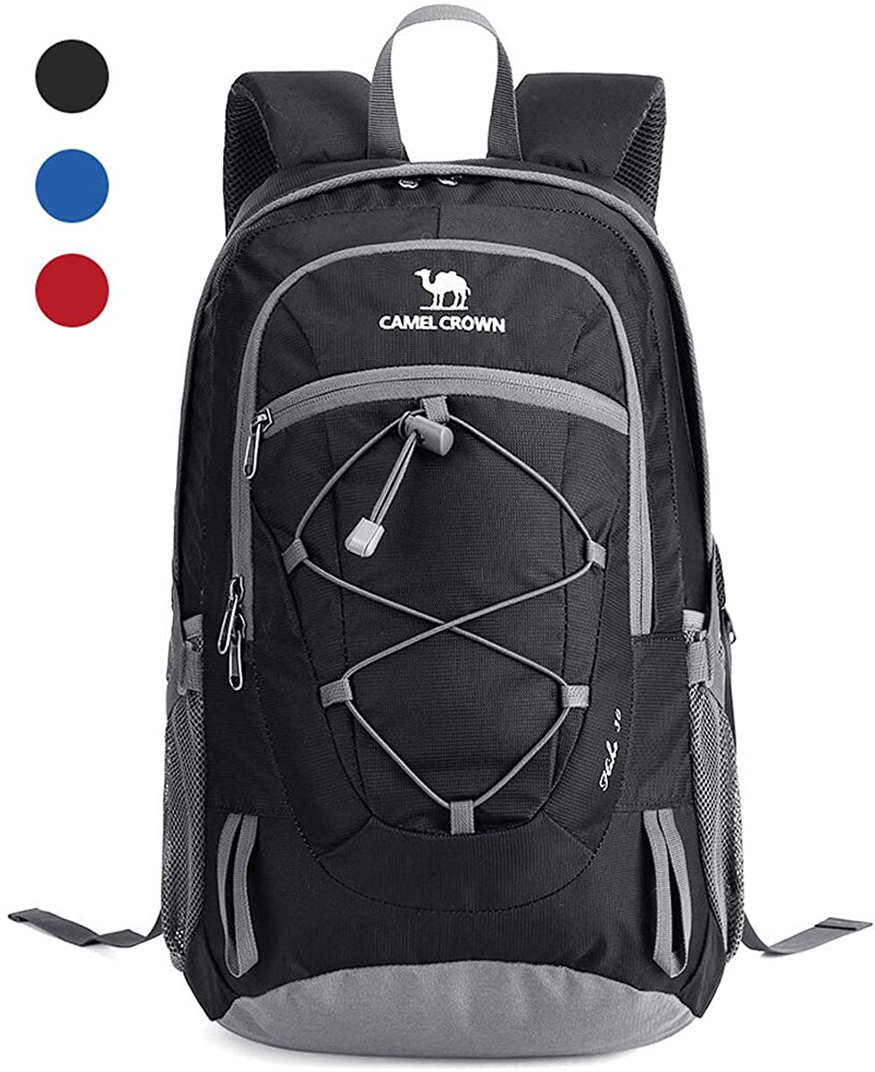 CAMEL CROWN Large Waterproof Backpack 25-35L Laptop Backpack Multifunction Lightweight Daypack Camping Travel Backpack