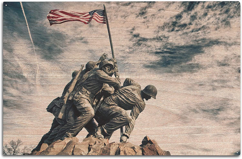 Lantern Press Washington, DC - Marine Corps War Memorial at Dramatic Angle - Photography A-93442 (10x15 Wood Wall Sign, Wall Decor Ready to Hang)