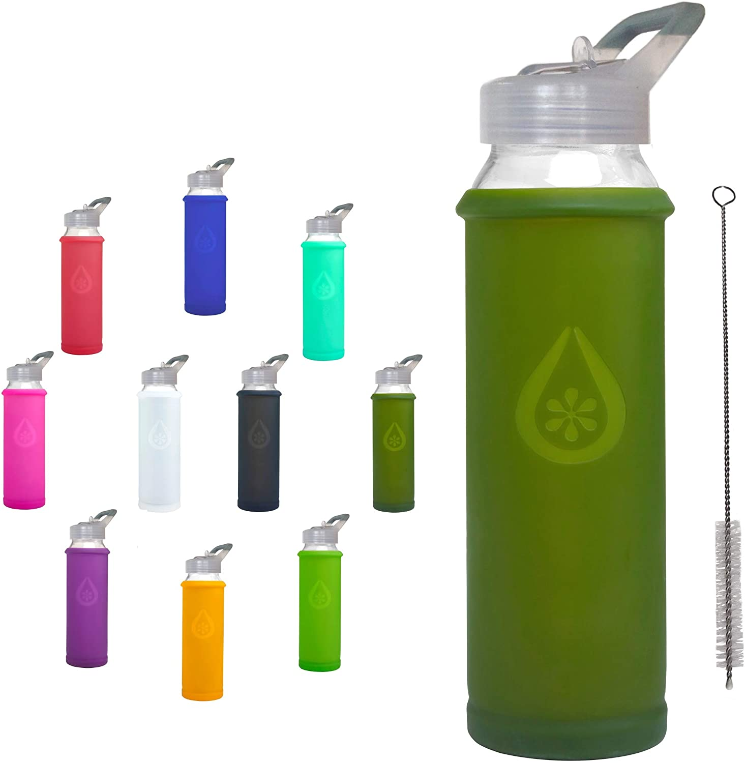 Eveau Glass Water Bottle with Straw Lid, Bumperguard Silicone Sleeve, Wide Mouth Opening, 21 Ounce/630 ml