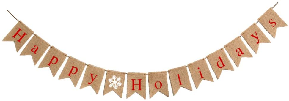 Amosfun Happy Holidays Burlap Banner Vintage Holiday Winter Hanging Bunting Banner New Year Garland for New Year Eve Party Decor