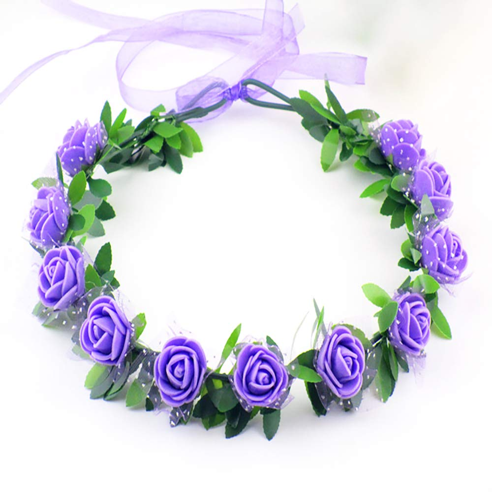Floral Fall Boho Headband Flower Crown Festival Wedding Beach Hair Wreath Photo Props Bridal Headpiece Purple