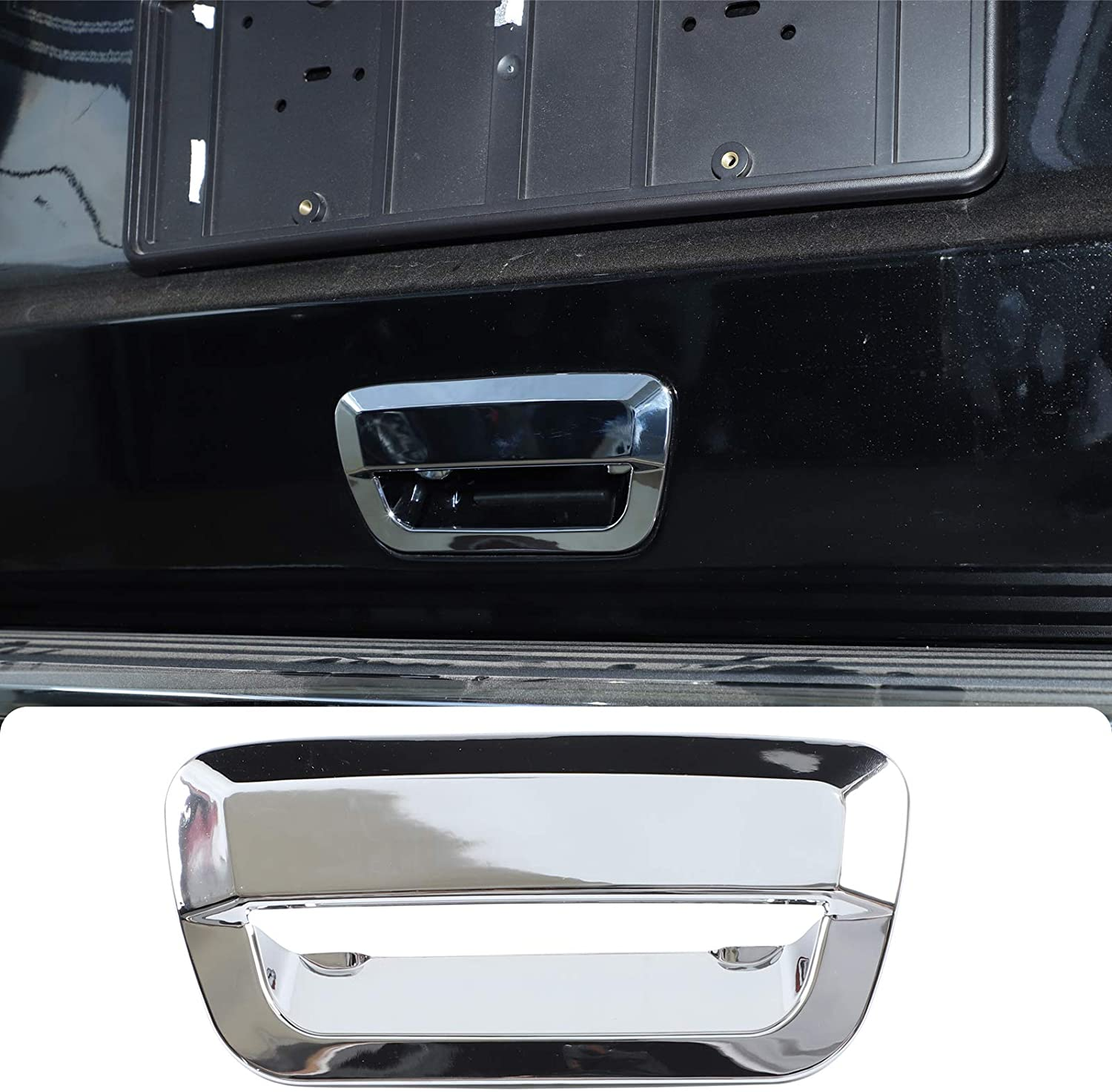 CheroCar for Jeep Grand Cherokee Tailgate Handle Insters Cover Rear Trunk Door Handle Trim for Jeep Grand Cherokee 2014-2020, Exterior Accessories, Chrome