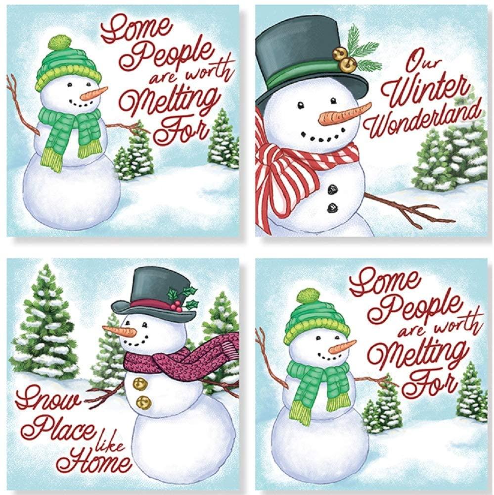 Carson Snowman Square House Coaster Set