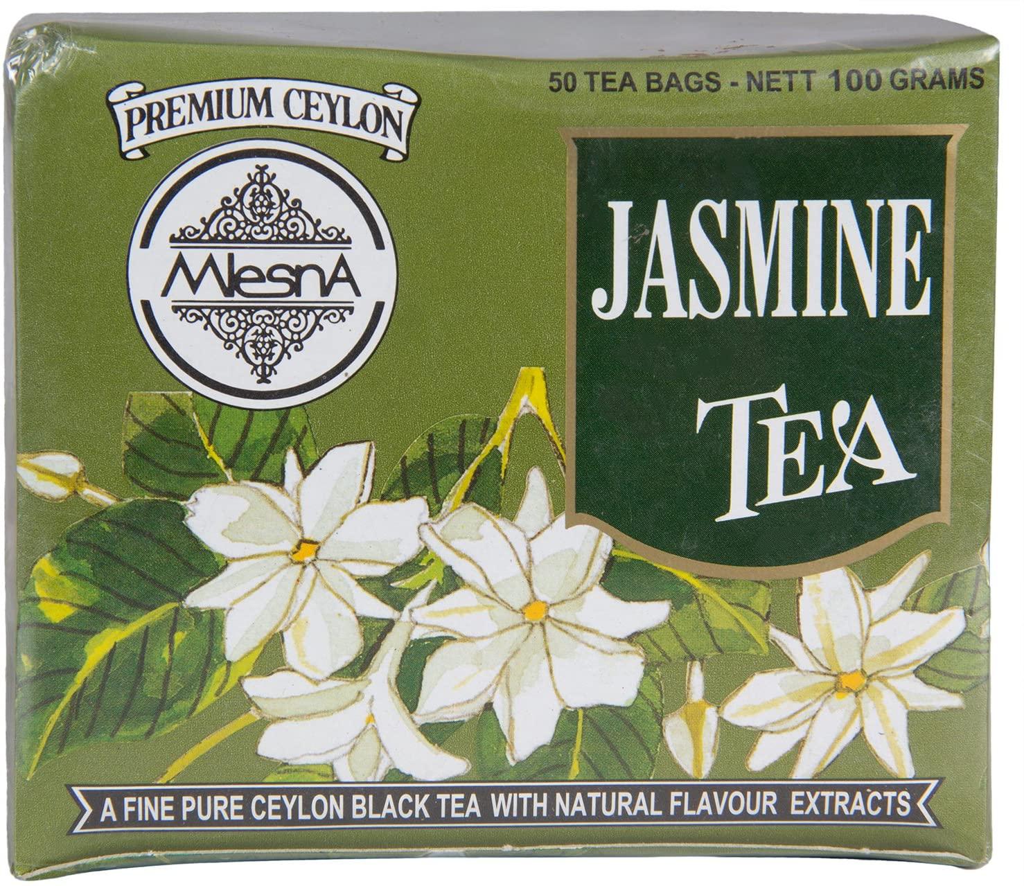 Mlesna Pure Ceylon Jasmine Green Tea - 50 Tea Bags 100g Box