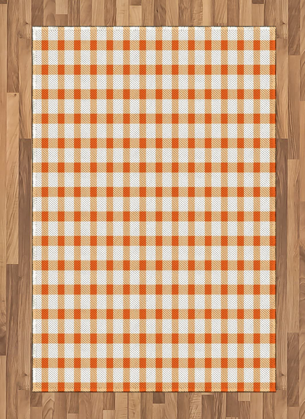 Ambesonne Orange and White Area Rug, Retro Gingham Style Checkered Squares Pattern in Warm Colors Plaid, Flat Woven Accent Rug for Living Room Bedroom Dining Room, 4' X 5.7', Orange and White