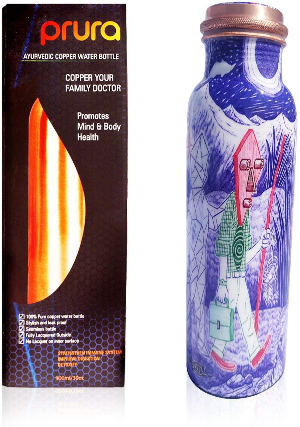 PRURA Copper Water Bottle A Leak Proof Ayurvedic Pure Copper Flask