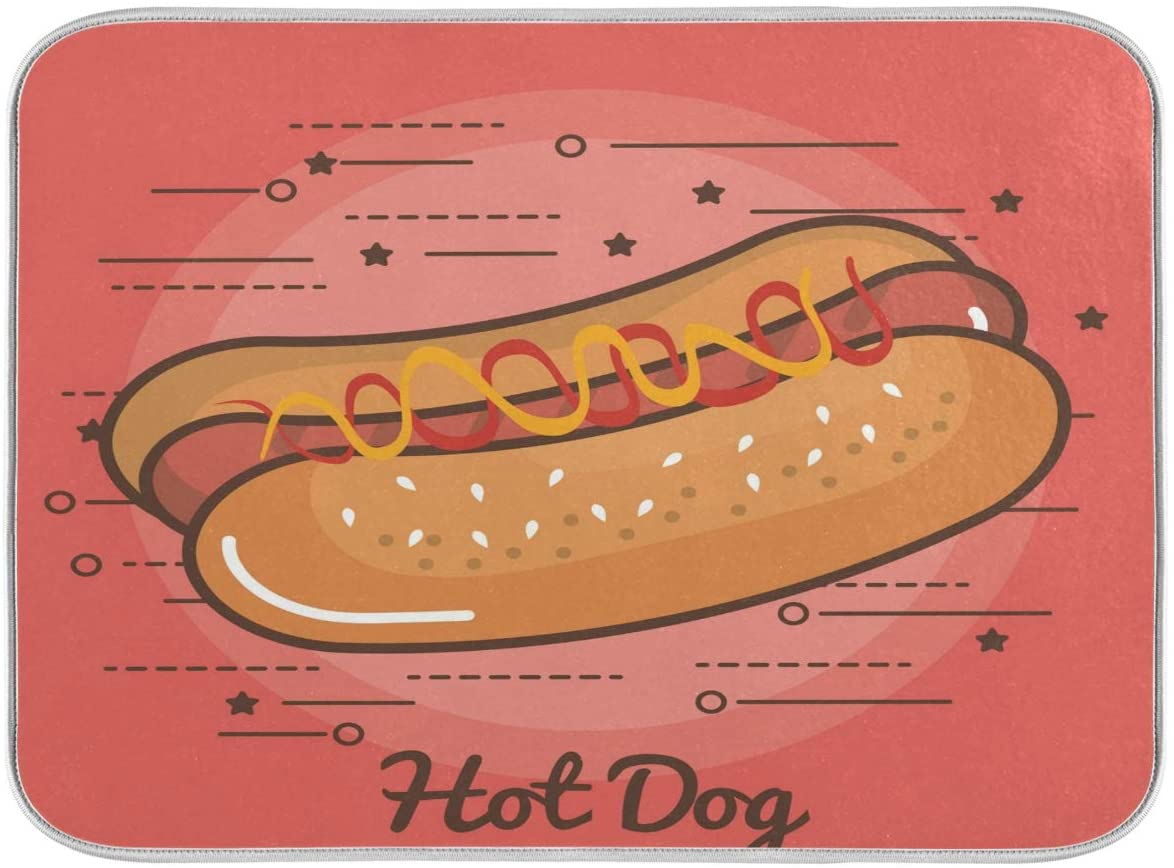 Dish Drying Mat for Kitchen Counter Absorbent Reversible Microfiber Sink Mats Large Hot Dog In Pink 18x24 inch