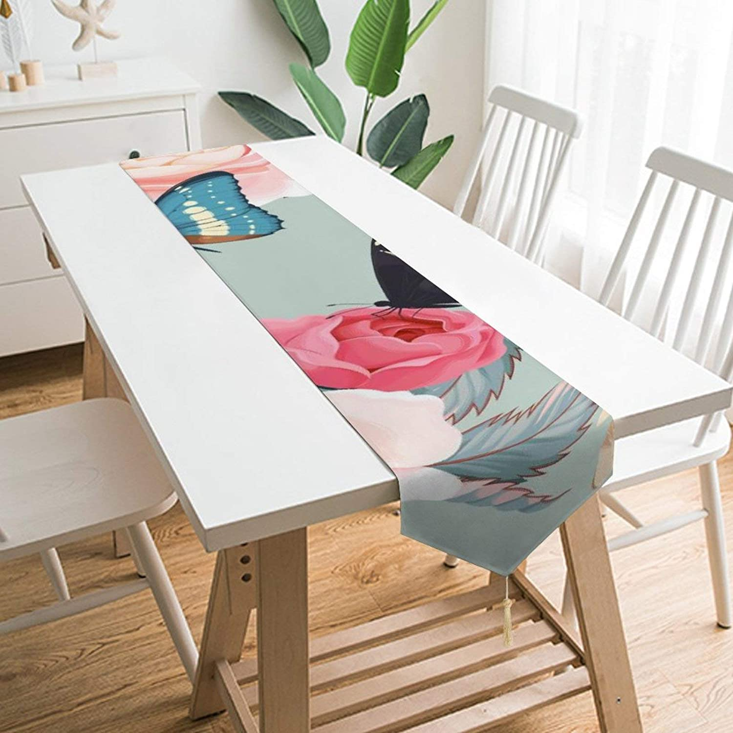 D-WOLVES Table Runners Dresser Scarves Machine Washable Heat Resistant Elegant Decor for Indoor & Outdoor Events Everyday Use Roses and Butterflies