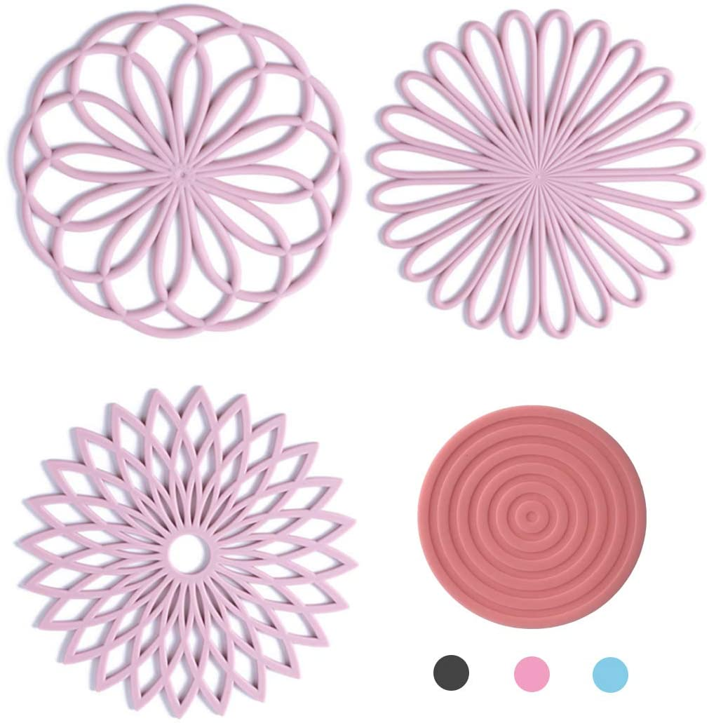 4 Set Silicone Trivet Mat Kitchen Accessories Insulated Pads For Pots & hot pads Pans Quality Insulated Flexible Durable Non Slip Coasters (pink)