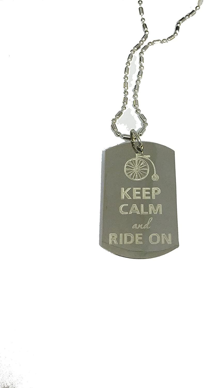 Hat Shark Keep Calm and Ride On Bike- Luggage Metal Chain Necklace Military Dog Tag