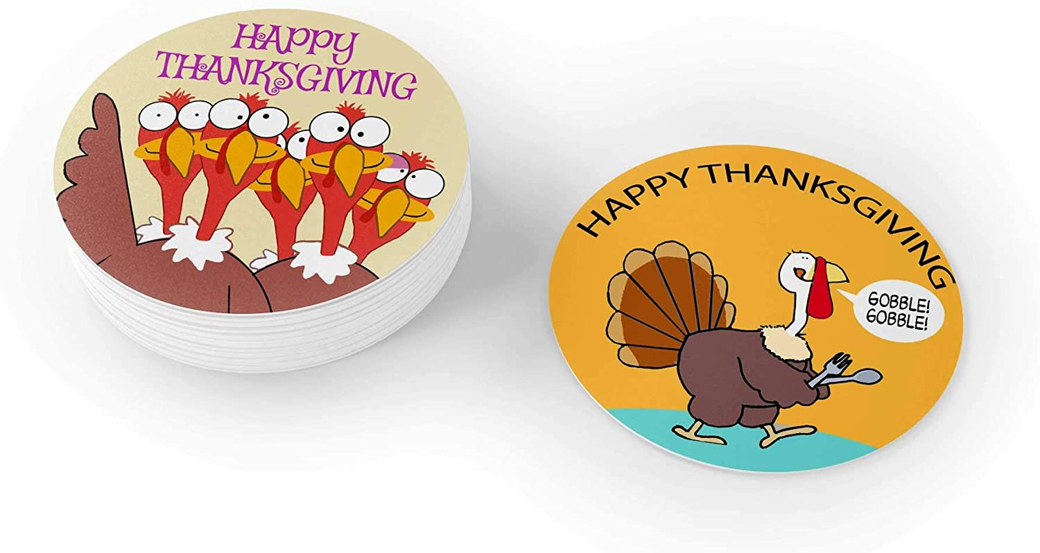Stonehouse Collection Thanksgiving Drink Coaster - Happy Thanksgiving Round Coasters - Disposable, Recyclable- 25 Count Coaster Pack (Thanksgiving)