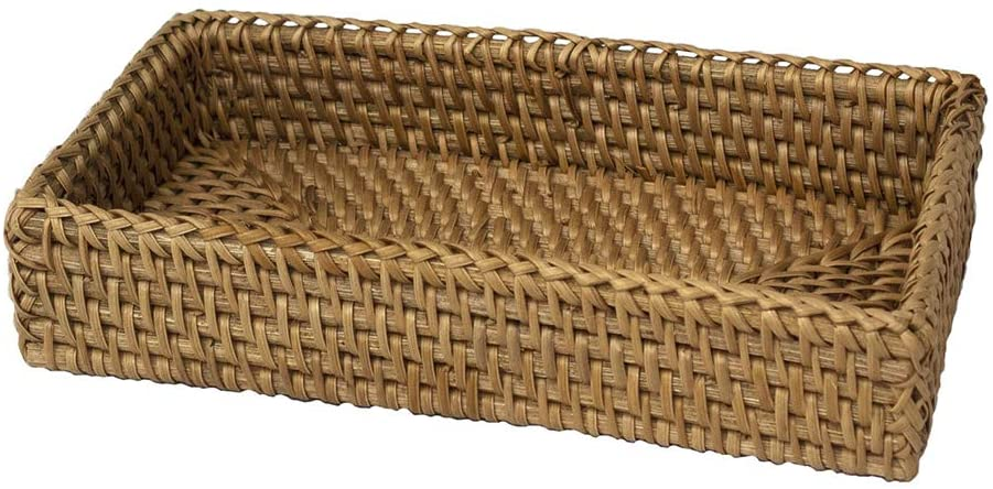 Rustic Guest Towel Napkin Holder, Paper Hand Towels Storage Tray Dispenser Rattan Buffet Napkin Caddy for Kitchen, Dining, Bathroom Vanity Countertop Organization (Natural, 1 Pack)