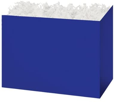 Solid Color Gift Basket Box with White Crinkle Paper Shred 8-1/4x4-3/4x6-1/4 Choose Box Color (Navy Blue)