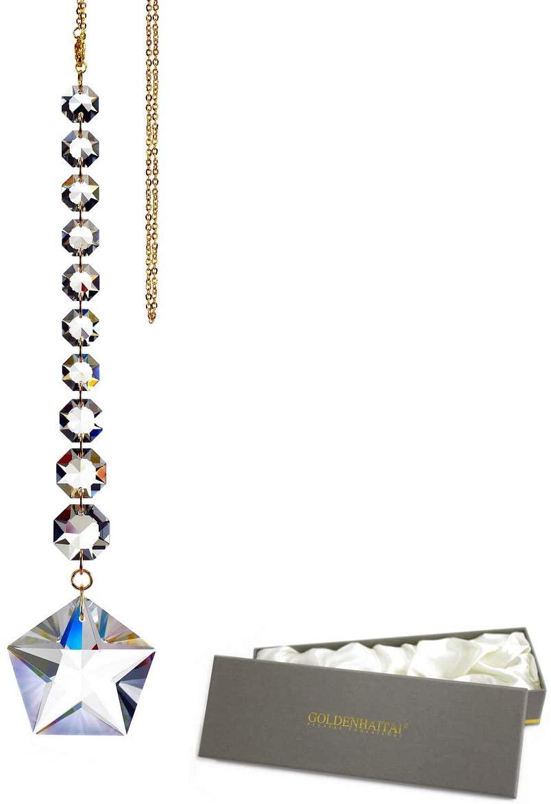 GOLDENHAITAI Fantastic Transparent Crystal Five-Pointed Star Suncatchers