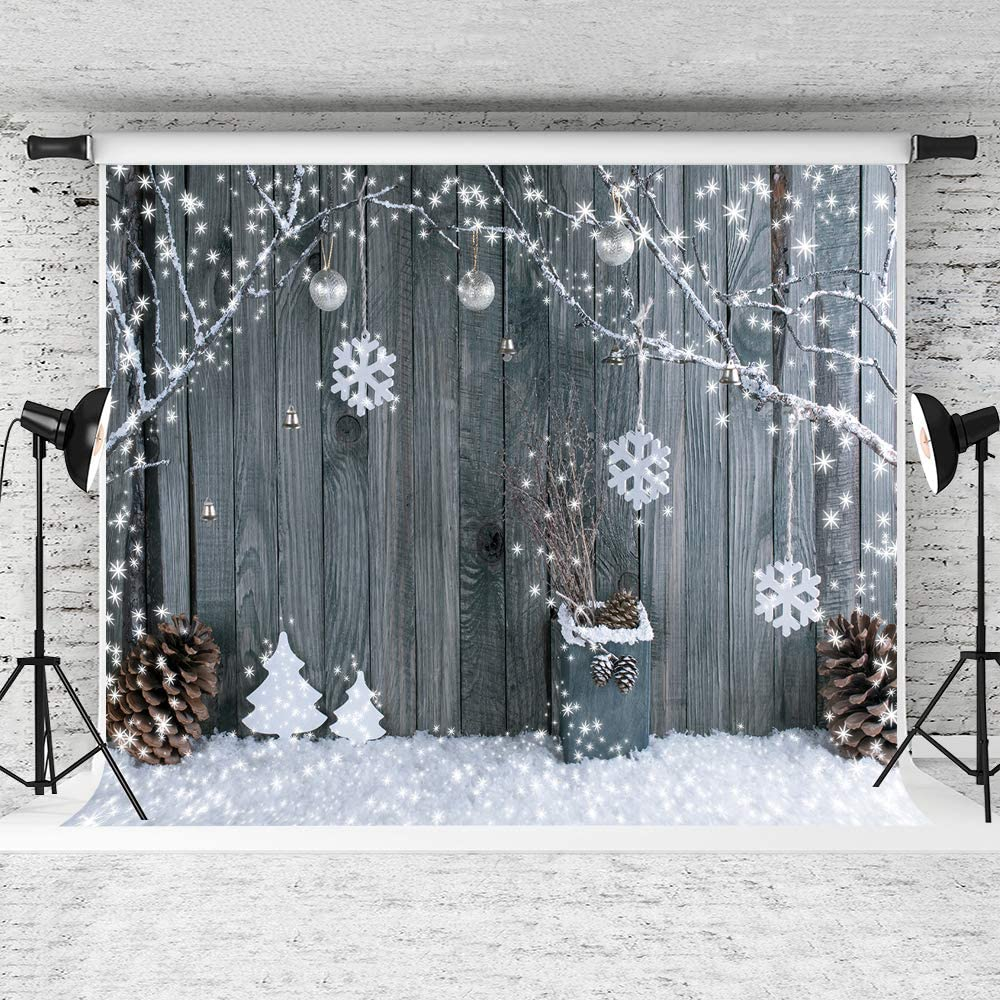 Kate 10x6.5ft Christmas Backgrounds Snowflake Backdrops Christmas Wood Wall Backdrop Children Christmas Photography Props