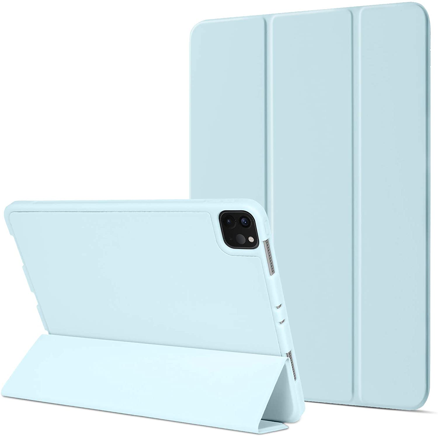 BENTOBEN iPad Pro 11 Case 2020 with Pencil Holder (2nd Generation), Slim Stand Auto Wake/Sleep Flexible TPU Back with Rubberized Tablet Cover Case for iPad Pro 11 2020/2018 - Light Blue