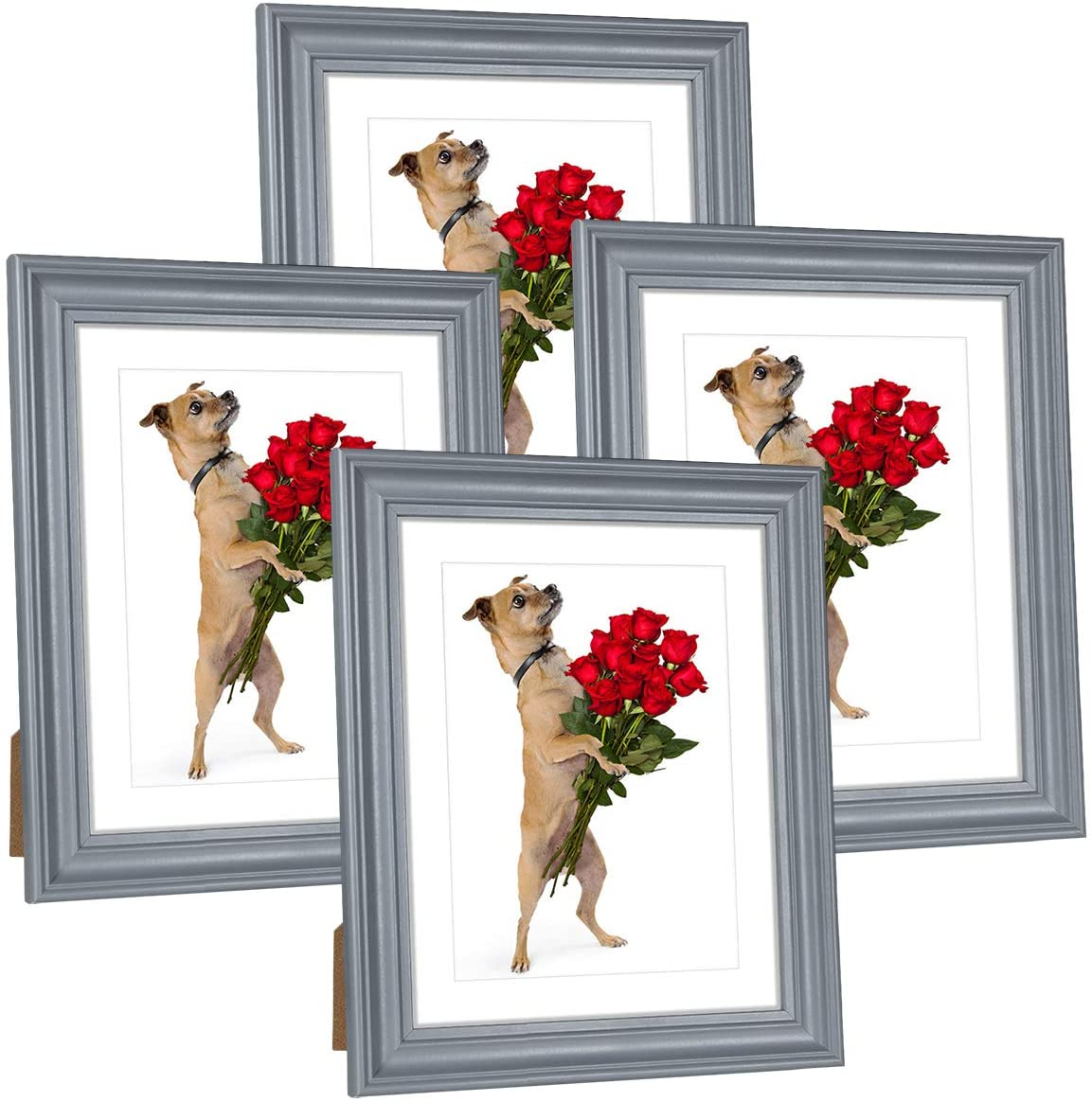Hap Tim 8x10 Picture Frame White Wooden Photo Frames for Tabletop Display and Wall Decoration, Set of 4 (CWH-8x10-BG)