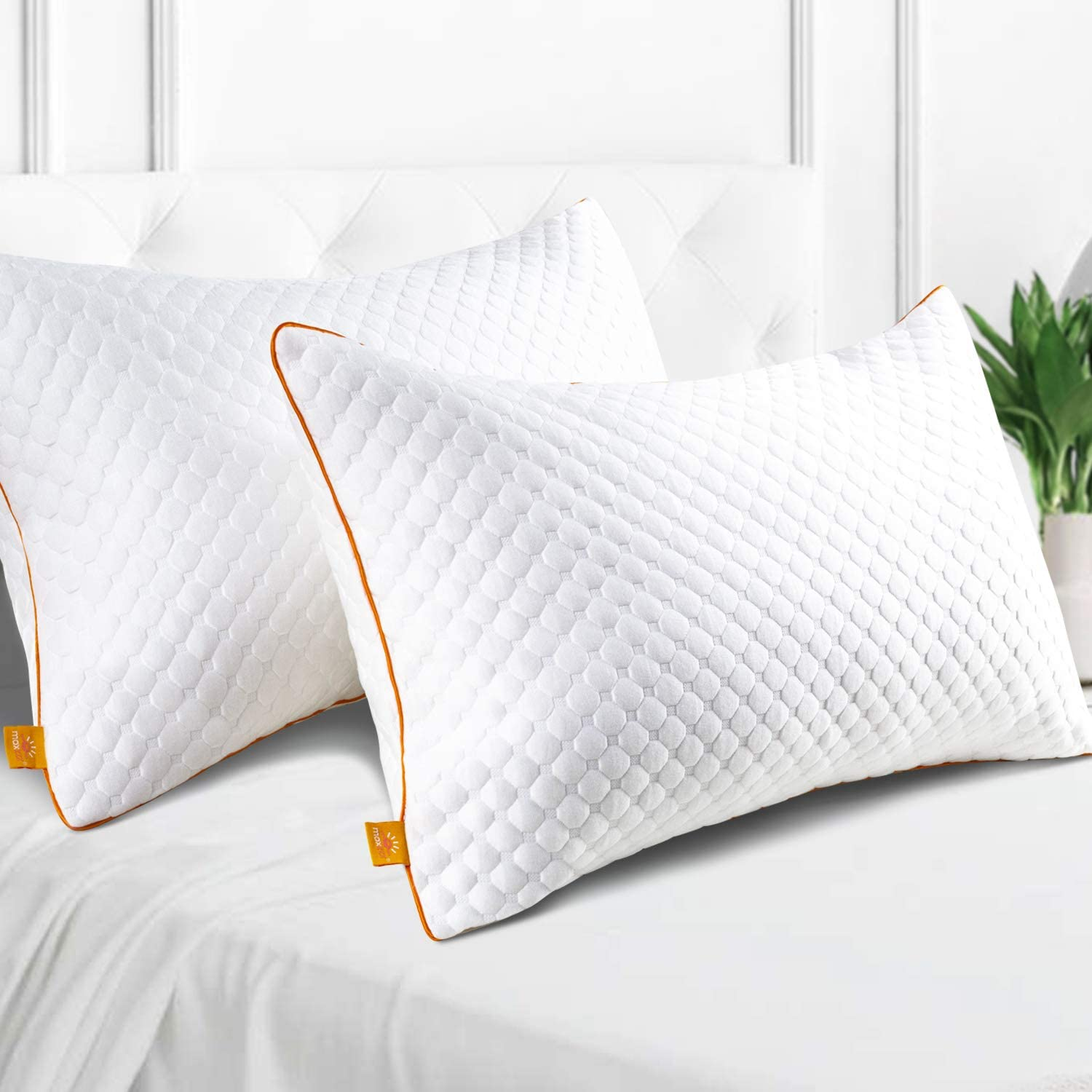 Maxzzz Bamboo Pillows for Sleeping, 2 Pack Soft Down Alternative Fiber Pillows, Hypoallergenic Queen Bed Pillows with Washable & Breathable Covers
