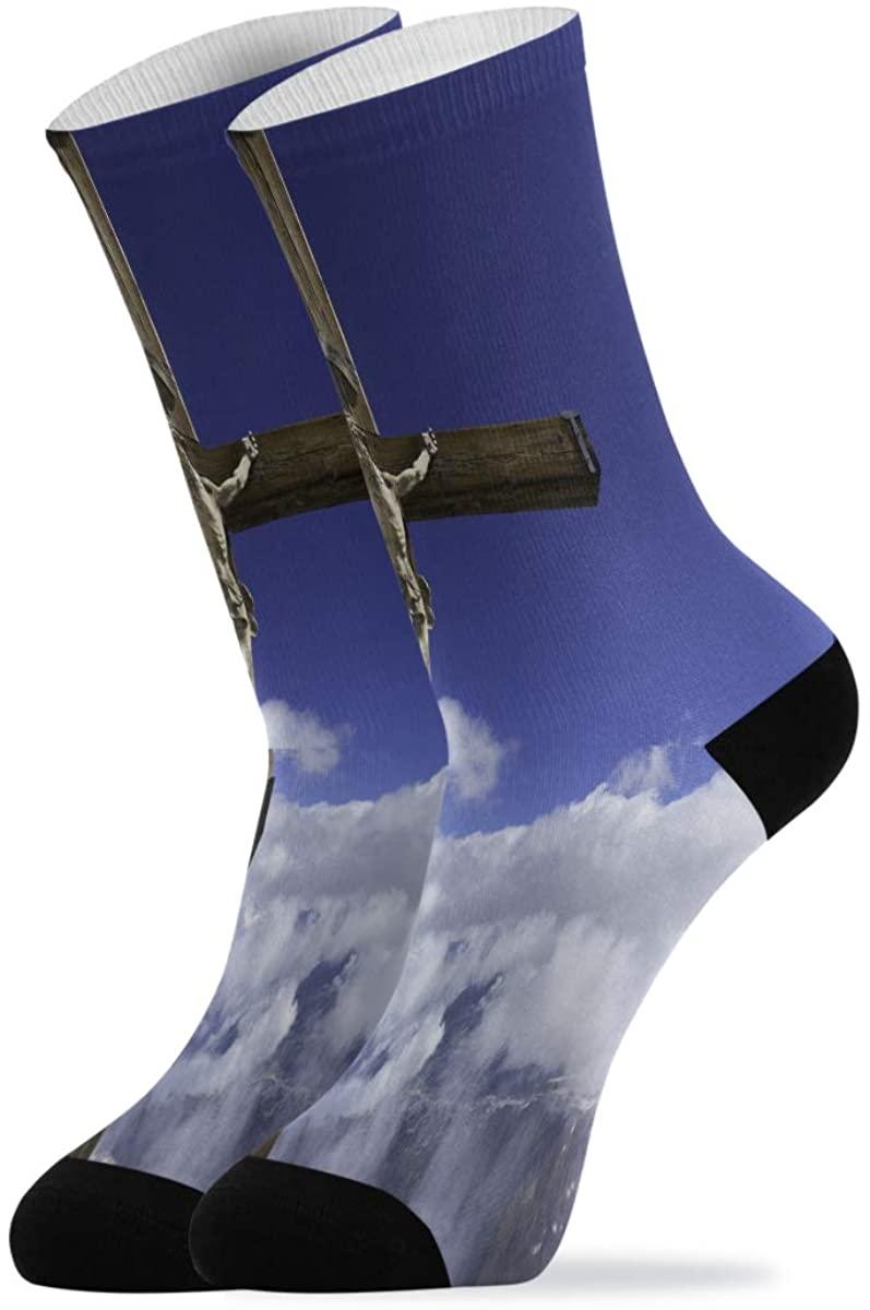 Marvellous Wood Cross Sky Novelty Casual Socks for Women Men Teen Boys Girls Unisex
